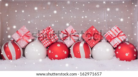 merry christmas card background with snow - stock photo