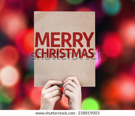 Merry Christmas card with colorful background with defocused lights - stock photo