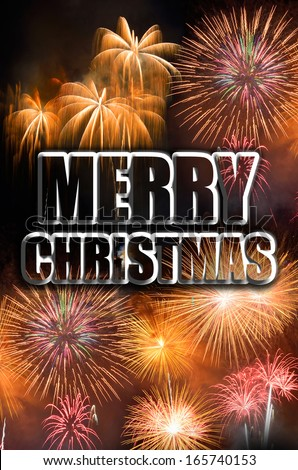 Merry Christmas celebration with fireworks - stock photo
