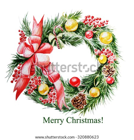 Merry Christmas! Christmas Tree watercolor wreath. Illustration - stock photo