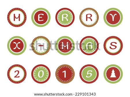 Merry Christmas cupcake toppers. Raster version - stock photo