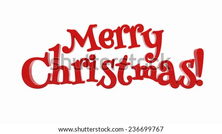 Merry Christmas 3d text on white background - stock photo
