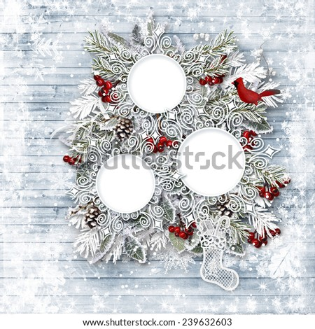Merry Christmas family card. Winter wooden background - stock photo