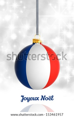 Merry Christmas from France. Christmas ball with flag - stock photo
