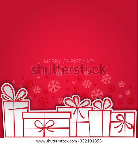 Merry Christmas gift card. Paper design. - stock photo