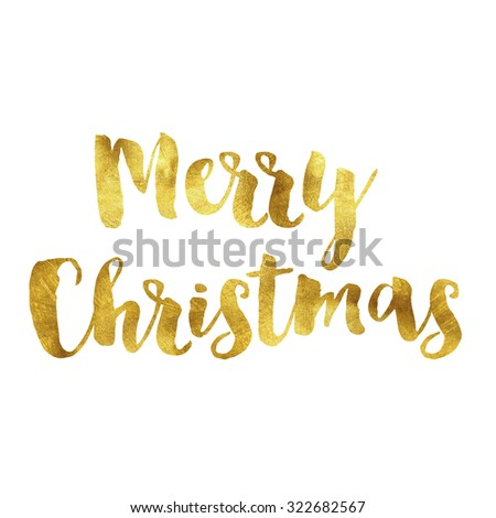 Merry christmas gold quote phrase on plain white background - stock photo
