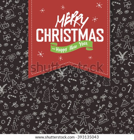 Merry Christmas Greeting Card. Red label with lettering on hand drawn Christmas background. Raster version. - stock photo