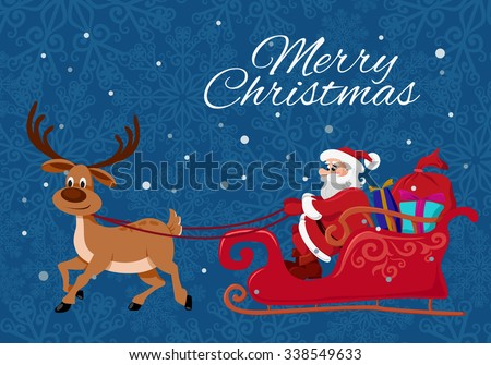 Merry Christmas greeting card template. Santa Claus and the deer. Flat illustration for Christmas design. - stock photo