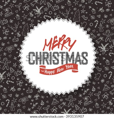 Merry Christmas Greeting Card. White label with lettering on hand drawn Christmas background. Raster version. - stock photo
