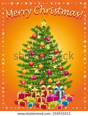 Merry christmas greeting card with christmas tree and gifts.  - stock photo
