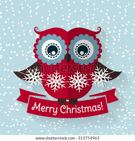 Merry Christmas! Greeting card with cute red owl, ribbon and paper garland of snowflakes. Flat style with long shadow. Raster illustration. - stock photo