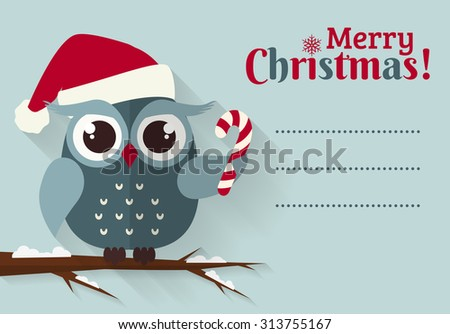 Merry Christmas! Greeting card with place for text. Cute owl with candy cane and Santa hat. Flat design with long shadow. Raster illustration. - stock photo