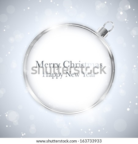 Merry Christmas Happy New Year Ball Silver with Stars and Snowflakes - stock photo
