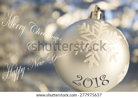 merry christmas & happy new year card  - stock photo