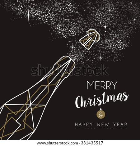 Merry christmas happy new year champagne bottle design in art deco outline style. Ideal for xmas greeting card or holiday poster. - stock photo