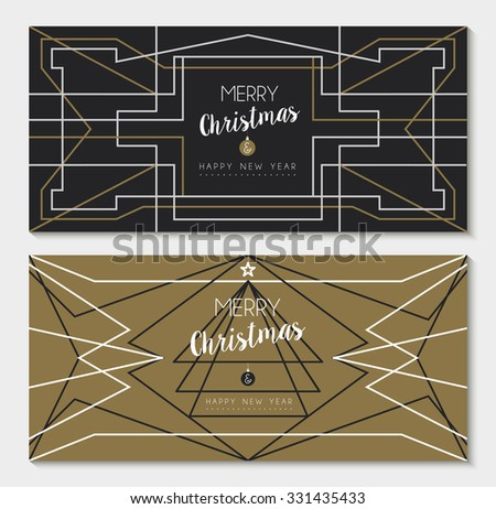 Merry christmas happy new year holiday greeting card set: abstract geometry design and pine tree in art deco outline style. - stock photo