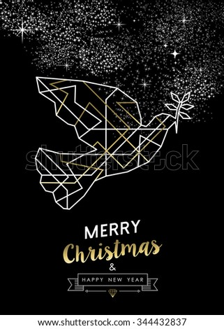 Merry Christmas Happy New Year peace dove in outline art deco geometry style, fancy gold and white design. Ideal for xmas greeting card, holiday poster or web. - stock photo