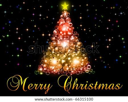 Merry Christmas illustration on the black background - stock photo