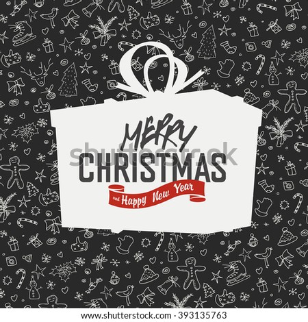 Merry Christmas Lettering on Gift Box Silhouette. On hand drawn xmas background. Raster version. - stock photo