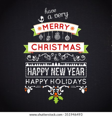 Merry Christmas lettering.  typography, chalkboard - stock photo