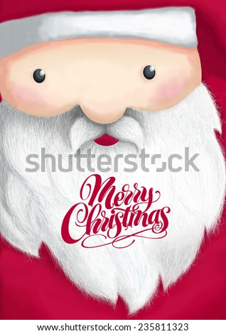 Merry Christmas postcard. Santa Claus wear in red with big beard and mustache, portrait illustration. Raster illustration. - stock photo