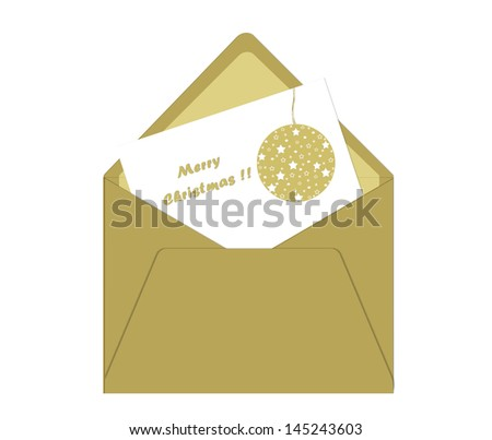 Merry Christmas postcard with envelope and ball in gold - stock photo