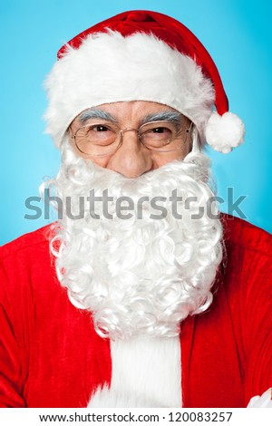 Merry Christmas, Profile shot of smiling Father Santa. - stock photo