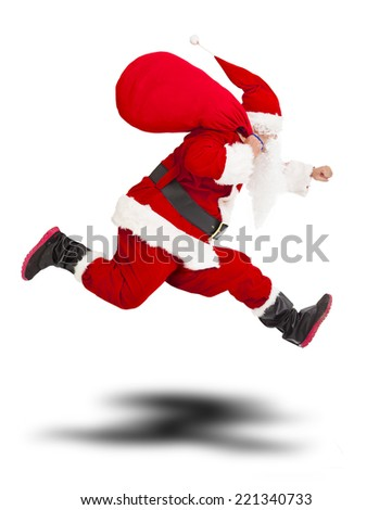 merry Christmas Santa Claus holding gift bag and running.isolated on white background - stock photo