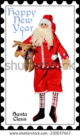 Merry Christmas.Santa Claus  on a white background.Happy New Year! Postage stamps.Doll. - stock photo