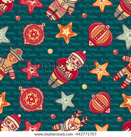 Merry Christmas. Seamless pattern. Abstract background. Holiday ornament. Season decoration. New year template. Festive texture. Winter decorate. Best for greeting card invitation. Xmas congratulation - stock photo