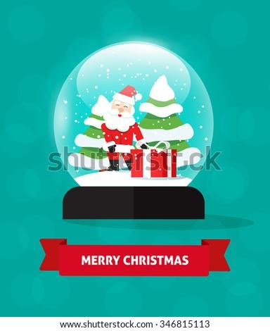Merry Christmas snow globe with Santa Claus illustration isolated, snowglobe snowfall, merry xmas postcard concept, snow globes fir trees, new year holidays card, tree gift, flat symbol design. Stock. - stock photo