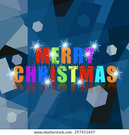 Merry Christmas sparkling colorful greeting phrase on icy background - stock photo