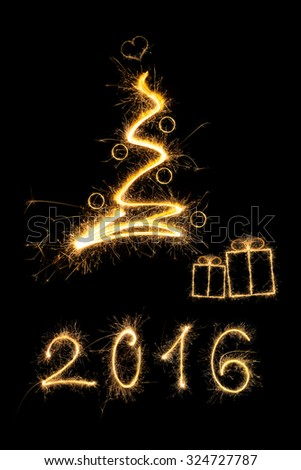 Merry christmas. Sparkling firework christmas tree with christmas presents and number 2016. Minimal abstract artistic style. - stock photo