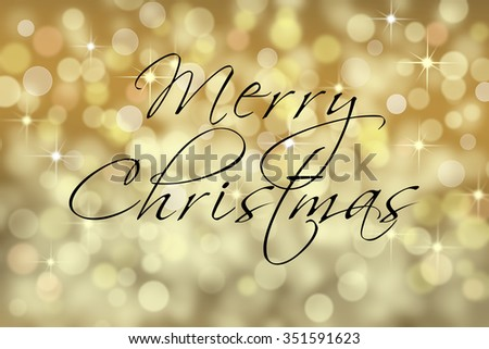 Merry Christmas text card with bokeh background. - stock photo