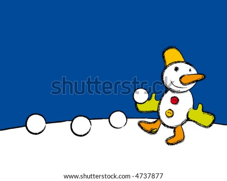 merry Christmas to all from happy snowman - stock photo
