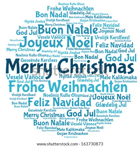 Merry christmas 2014 tree word tag cloud - stock photo