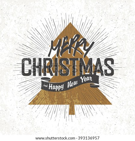 Merry Christmas Vintage Monochrome Lettering with Christmas tree silhouette on background. Raster version. - stock photo