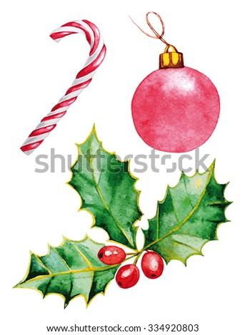 Merry Christmas Watercolor - stock photo
