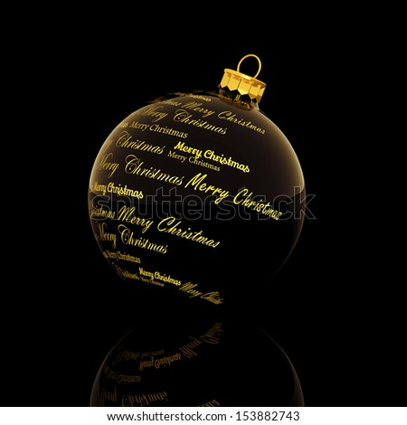 Merry Christmas words forming a Christmas ball on black background - stock photo