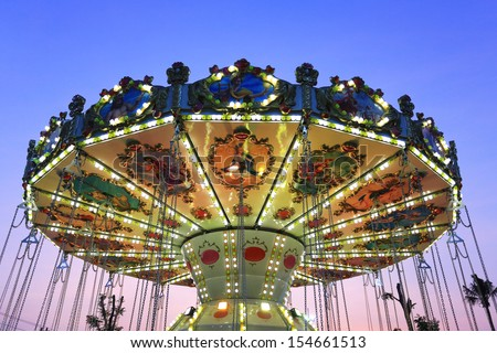 Merry go round by night at Cha-am , Thailand - stock photo