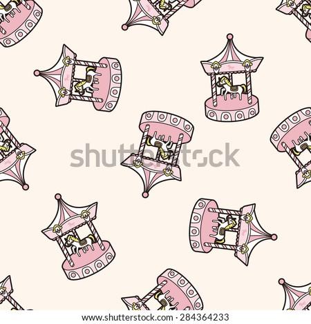 merry-go-round , cartoon seamless pattern background - stock photo