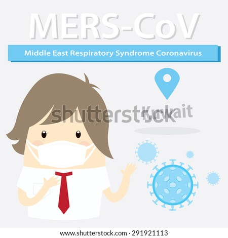 Mers-CoV (Middle East respiratory syndrome coronavirus), businessman with hygiene mask - stock photo