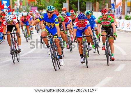 "Mersin, Turkey - April 11, 2015 : Cycling race ""INTERNATIONAL TOUR OF MERSIN "" - stock photo"