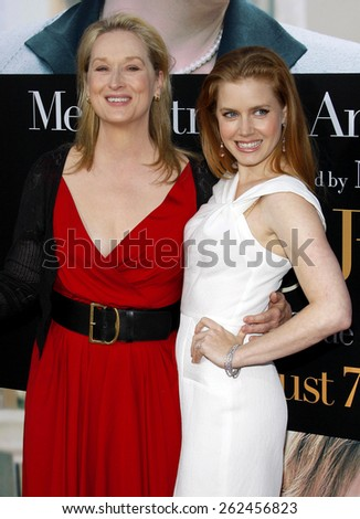 Meryl Streep and Amy Adams at the Los Angeles premiere of 'Julie and Julia' held at the Mann Village Theatre in Westwood, USA. July 27, 2009. - stock photo