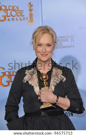 Meryl Streep at the 69th Golden Globe Awards at the Beverly Hilton Hotel. January 15, 2012  Beverly Hills, CA Picture: Paul Smith / Featureflash - stock photo