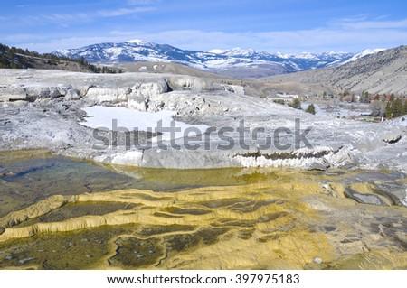 Mesa rock patterns at mamoth hot springs in Yellowstone national park - stock photo