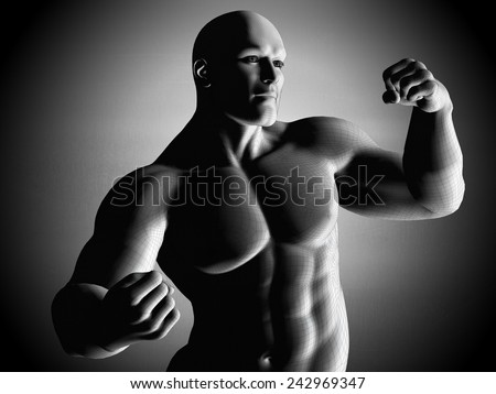 Mesh model of strong man posing and exposing his musculas body, muscles, biceps. - stock photo