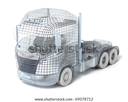 Mesh truck isolated on white. My own design - stock photo