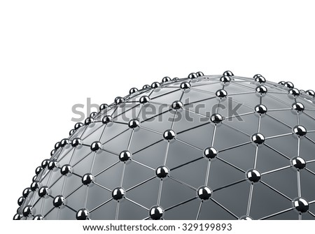 Meshes chrome sphere 3D background with white copy space. - stock photo