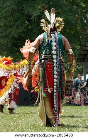 Meskwaki PowWow - Back Outfits - August 2006, Tama, Iowa - stock photo